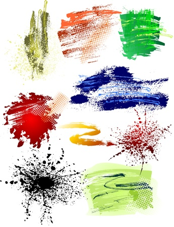 watercolor smear: Colorful Grunge brushes pack