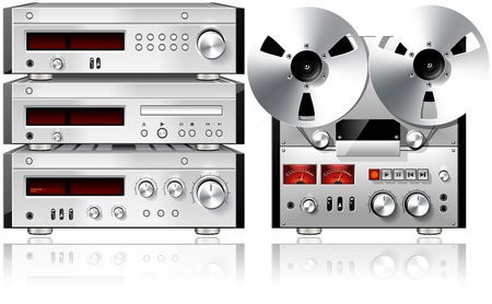 Analog Music Stereo Audio Components Vintage Rack Isolated photo