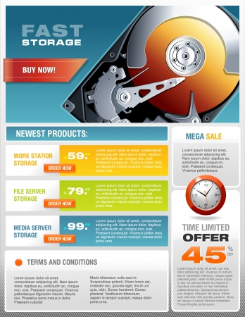 hard: HD Hard Disk Sale Promotional Brochure, Detailed Realistic Vector