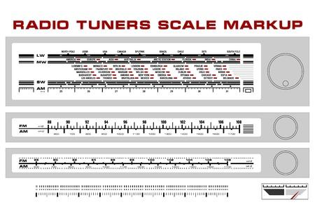 Radio tuner scale dashboard markup, 3 styles 일러스트