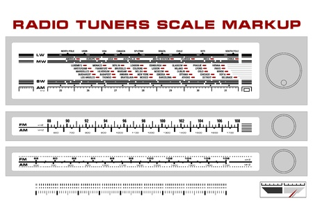 retro radio: Radio tuner scale dashboard markup, 3 styles Illustration