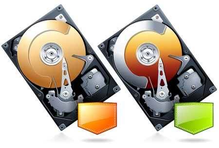 hard disk drive: Hard disk drive HDD with price badge realistic  Illustration