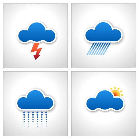 Blue Paper Cloud Weather Icons vector, set of 4 Vector