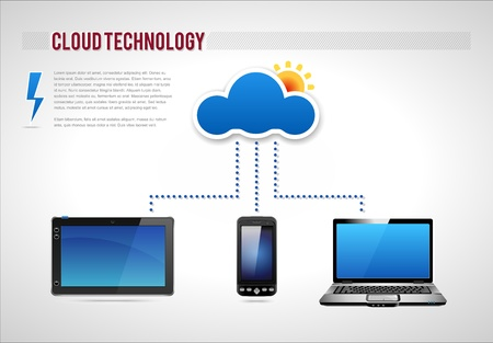 storage device: Cloud Technology Presentation Diagram Template, detailed vector Illustration
