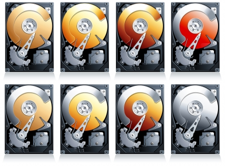 computer peripheral: Hard disk drive HDD Illustration, set of 8