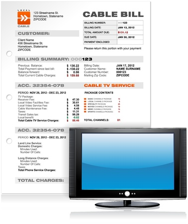 utility: Cable TV Service Bill with Flat Plasma LED LCD TV , Detailed Vector Illustration