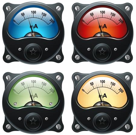 Electronic analog VU signal meter, realistic isolated illustration, set of 4 Banco de Imagens