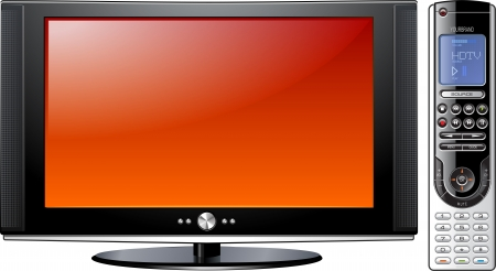 Modern Flat Plasma LCD LED TV with Remote Control, detailed isolated illustration Stock Illustration - 19049324