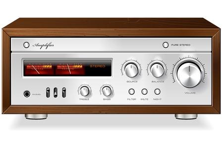 hifi: Vintage Hi-Fi analog Stereo Amplifier detailed vector