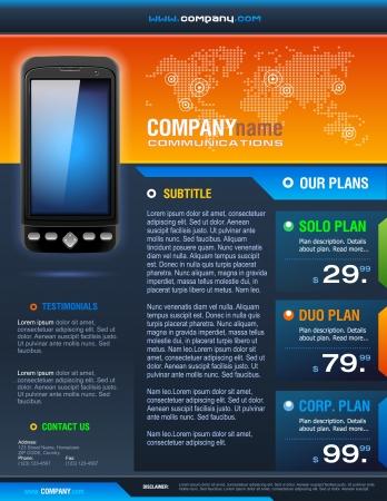 usługodawcy: Broszura Smart Phone Telecom wektorowej szczegółowe dostawcze