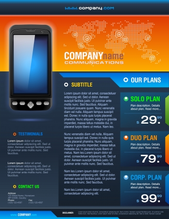 Smart Phone Telecom Provider Brochure detailed vector Vector