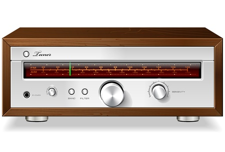 tuner: Vintage Stereo Analog Radio Tuner in Wooden Case Detailed Vector
