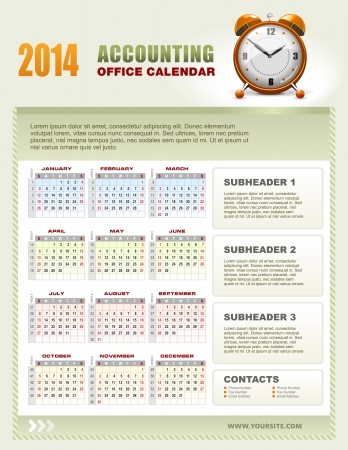 event planner: 2014 accounting corporate office calendar template grid with week numbers, vector