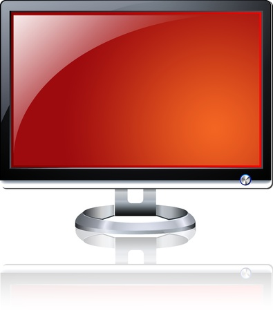 Flat Plasma LED LCD Display Computer Monitor Isolated Illustration Stock Illustration - 19601521