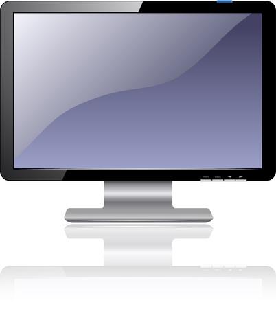 Flat Plasma LED LCD Display Computer Monitor Isolated Illustration Stock Illustration - 19601503