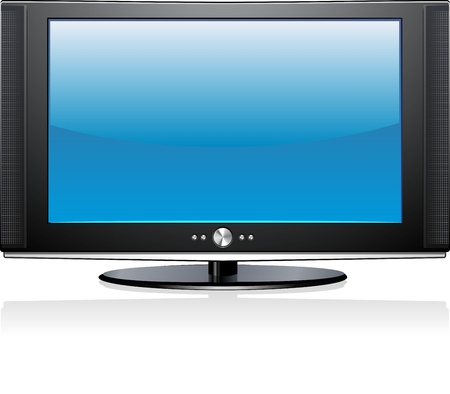 lcd tv: Flat Plasma LED LCD Display TV Screen Isolated Illustration Stock Photo