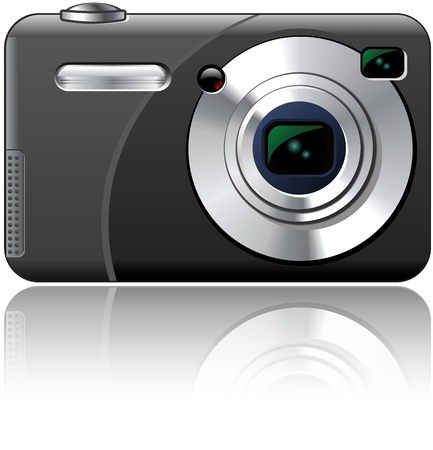 Point And Shoot Amateur Photo Camera Isolated Illustration Фото со стока