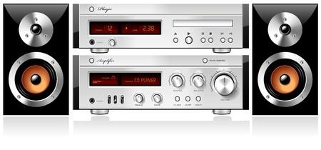equipo de sonido: Music Stereo Audio Sound Components Rack, vector detallada
