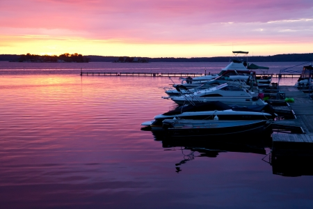 lawrence: Dramatic dawn on St  Lawrence River, USA