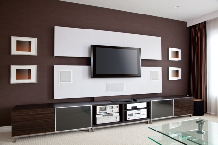 render: Modern Home Theater Room Interior with Flat Screen TV