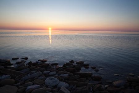 huron: Dramatic sunrise on Lake Huron, Canada