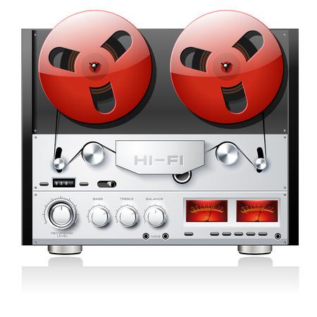 hi end: Vintage open reel analog stereo tape deck player recorder detailed vector