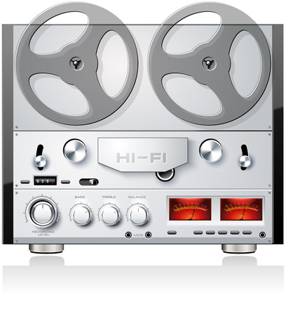 Vintage open reel analog stereo tape deck player recorder detailed vector