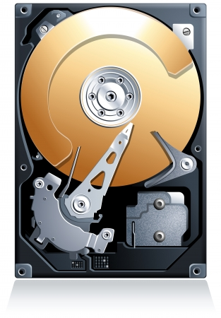 megabyte: Hard disk drive HDD realistic detailed vector