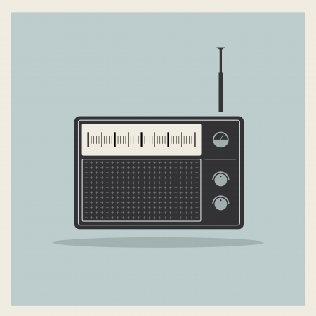 fm radio: Retro radio receiver vector Illustration