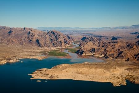Lake Mead Aerial View, America, Arizona and Nevada Stock Photo