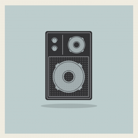 Retro Loudspeaker on blue background Ilustrace