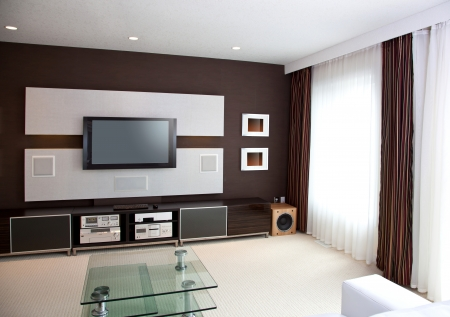 Modern Home Theater Kamerinterieur met Flat Screen TV Stockfoto