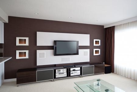 equipo de sonido: Modern Home Theater Interior Habitación con TV de pantalla plana