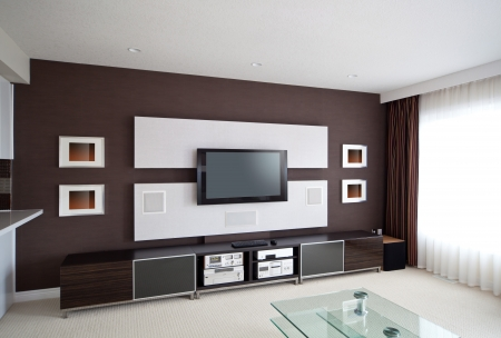 home theater: Modern Home Theater Room Interior with Flat Screen TV