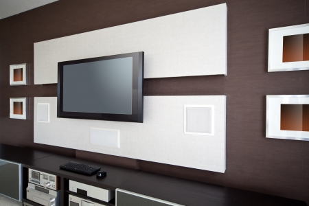 Modern Home Theater Room Interior with Flat Screen TV photo