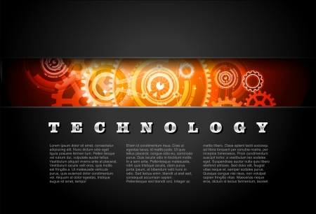 Metal Technology Panel With Glowing Gears vector