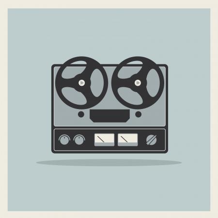 Retro open reel tape deck stereo recorder player vector Illustration