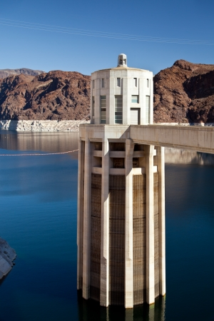 mead: Hoover Dam Towers on Colorado River, Lake Mead scenic landscape vista