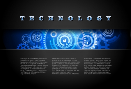 mechanical engineering: Metal Technology Panel With Glowing Gears Illustration