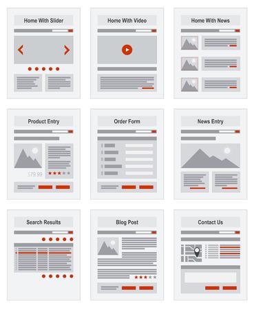 sites web: Carte du site Internet de navigation Structure Prototype vecteur Illustration