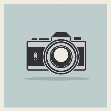 デジタル一眼レフ プロのカメラ アイコンにレトロなヴィンテージ背景のベクトル