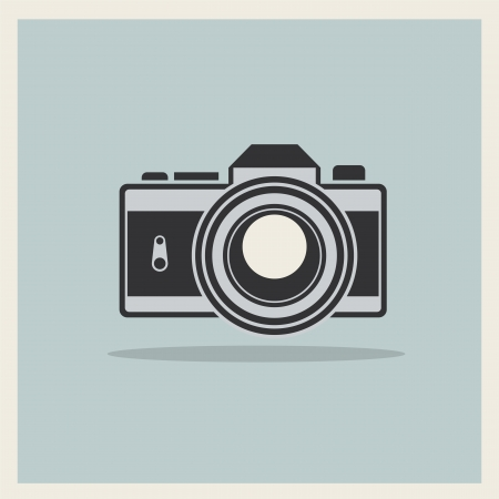 DSLR Professional Camera Icon On Retro Vintage Background vector Illustration