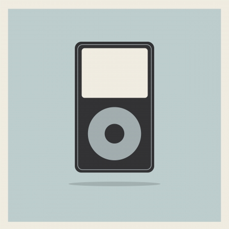 mp3 player: Music Media MP3 Player on the Retro Vintage Background vector Illustration