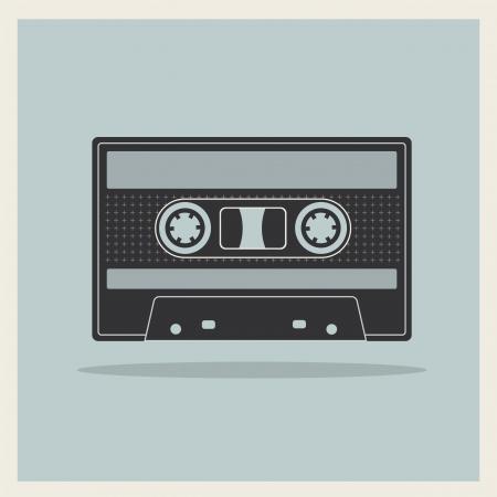 audio cassette: Audio  Compact Cassette Tape on Retro Background vector Illustration