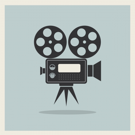 Video Movie Camera on Retro Background vector Vector
