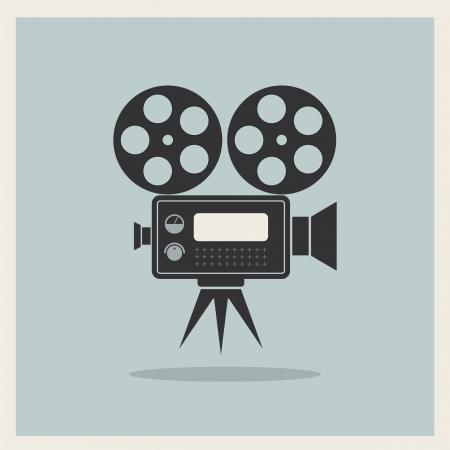 Video Movie Camera op retro achtergrond vector Stock Illustratie