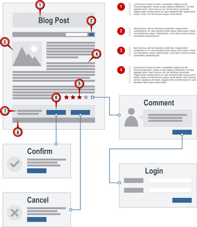 icons site search: Internet Blog Site Map Navigation Structure Prototype vector with pointer markers