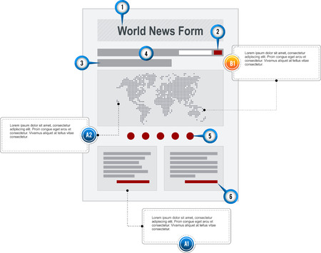 World News Internet Web Page Wireframe Structure Prototype  with pointer markers and callouts vector Vector