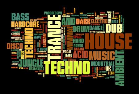 Electronic Techno Music Styles Word Cloud Bubble vector geïsoleerd op zwart Stock Illustratie