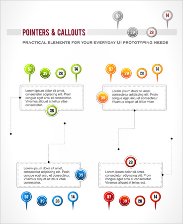 callout: Interface elements set, map location pointer pin, infographics digaram callout vector Illustration